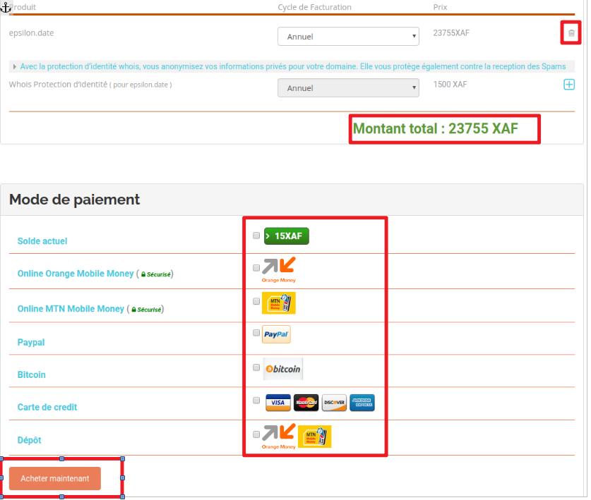 moyen de paiement disponibles pour régler la note du domaine