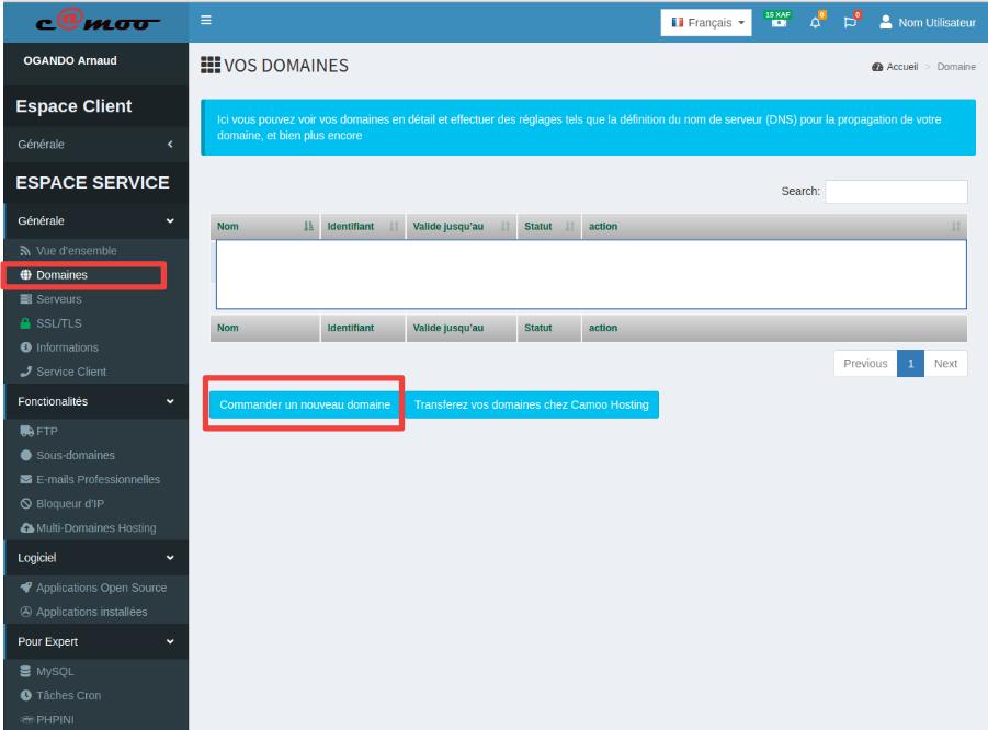 accéder à l'interface d'achat d'un domaine